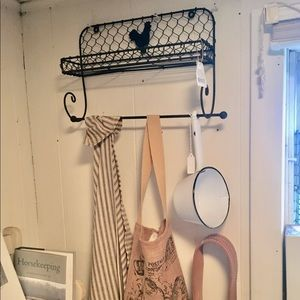 Vintage. wrought iron shelf with rooster, NEW!